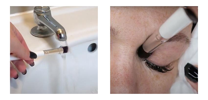 Apply the wet brush to your eyelashes
