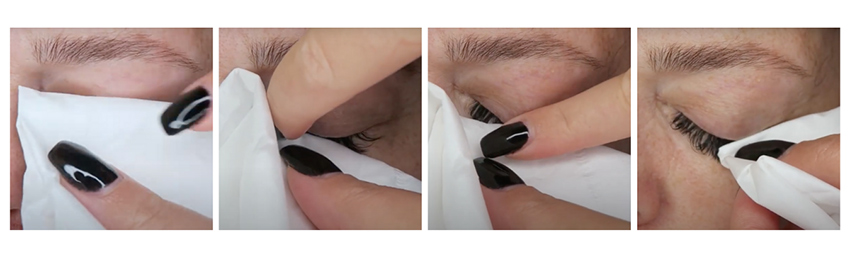 paper towel and blot the lashes