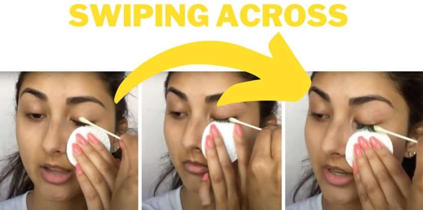 swiping across remove eyelash
